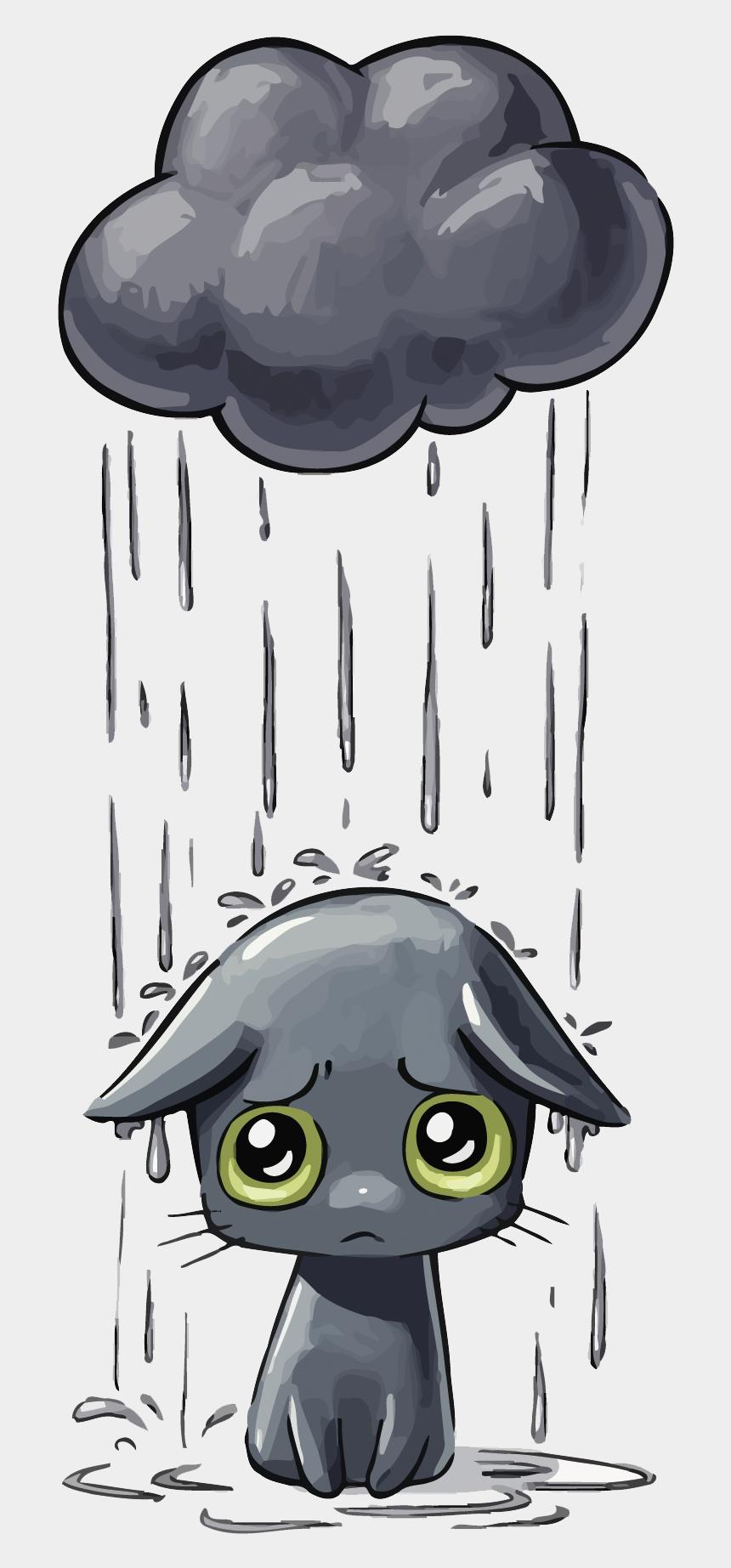 sad clipart, Cartoons - Dog Illustration Cat Vector Kitten Sad Drawing Clipart - Anime Cat In Rain