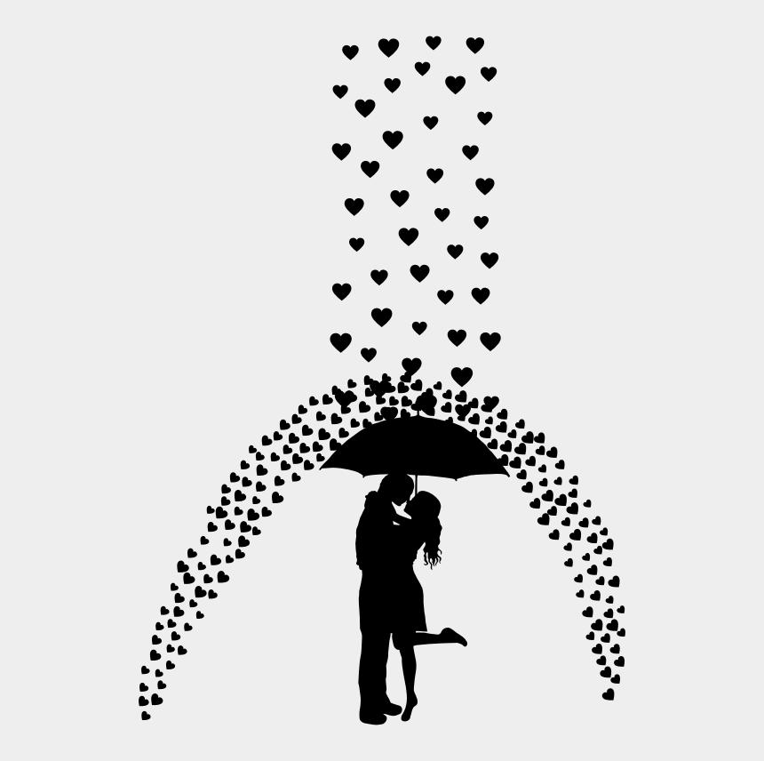 raining hearts clip art, Cartoons - Man And Umbrella With Lady