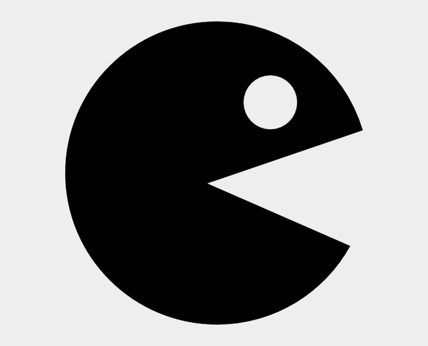 pacman clipart black and white, Cartoons - Pac Man Silhouette Png