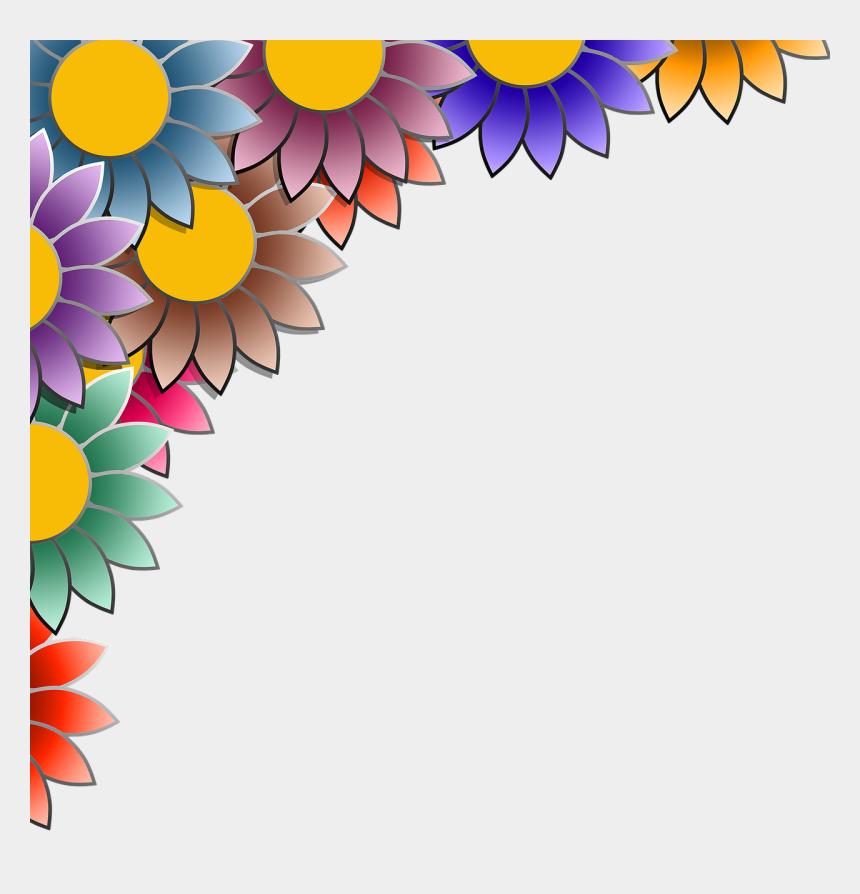 colorful flower border clipart, Cartoons - Colorful Background With Borders
