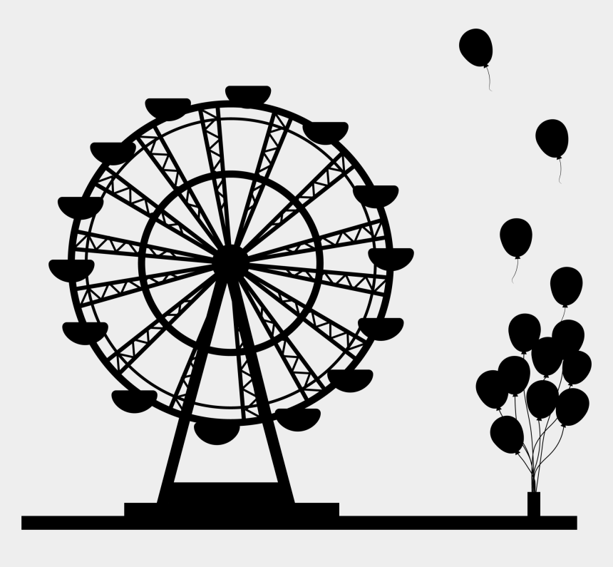 tourist clipart black and white, Cartoons - Ferris Wheel Silhouette Png