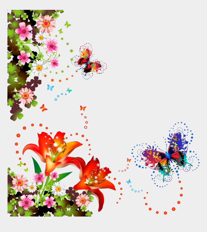 colorful butterfly border clipart, Cartoons - Decorative Png Vector Floral Designs
