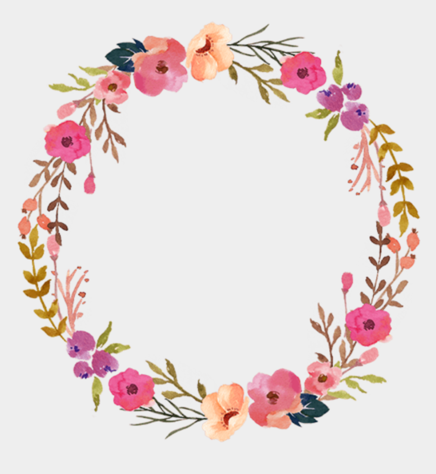 colorful floral border clipart, Cartoons - Watercolor Wreath Flower Png