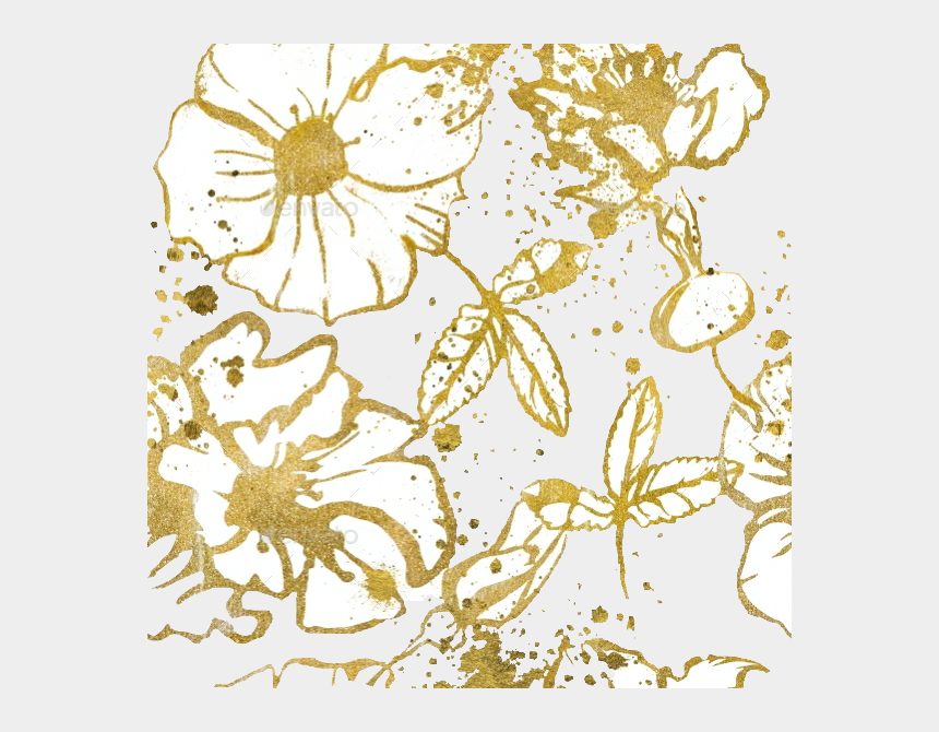 metallic gold glitter clipart, Cartoons - Png Golden Floral Background Free