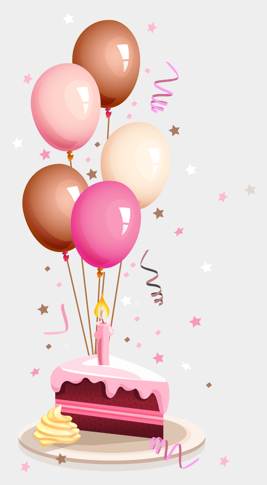 august birthday cake clipart, Cartoons - Balloons And Cake Png