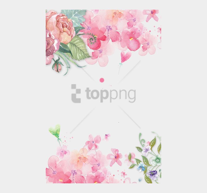 watercolor floral bouquet clipart, Cartoons - Watercolor Pink Flower Background