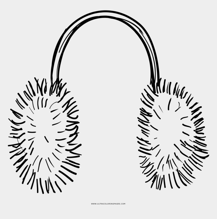 hearing protection clipart, Cartoons - Black And White Earmuffs Drawing