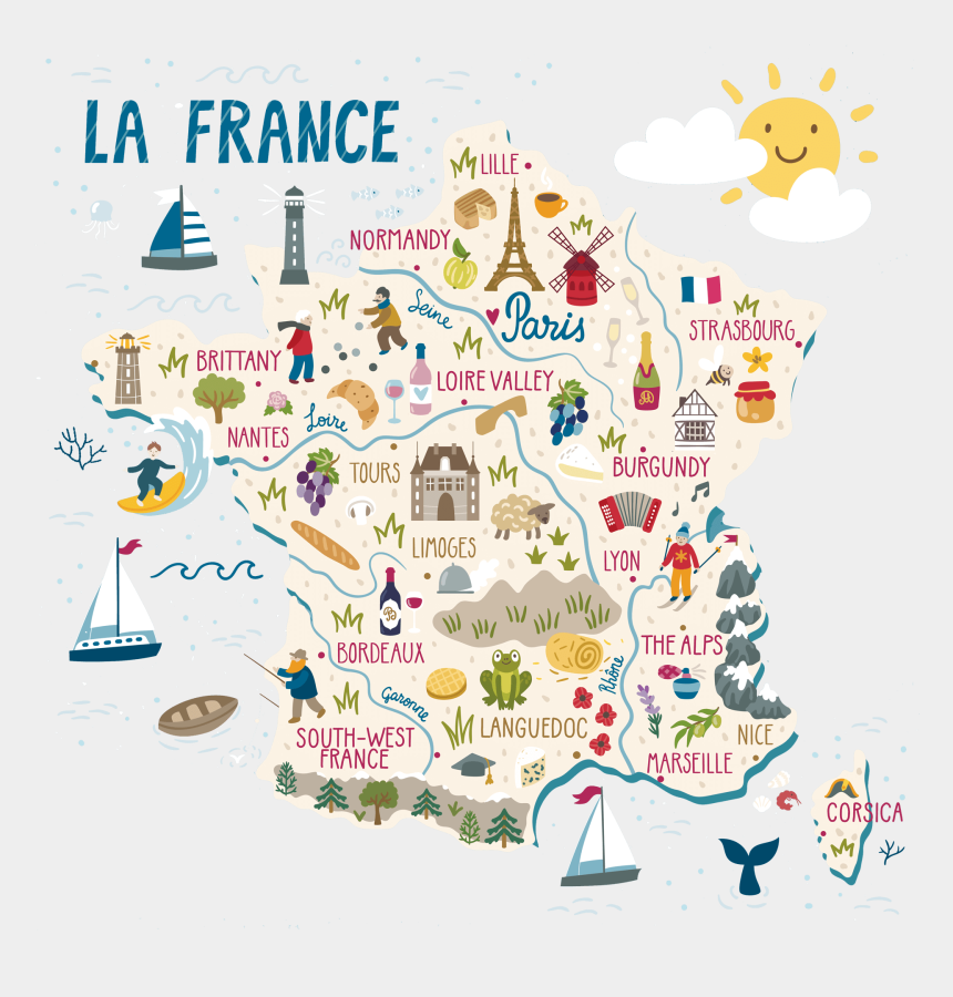what do you want to eat clipart, Cartoons - Map Of France With Illustrations