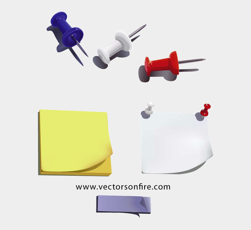 pins clipart psd, Cartoons - Sticky Notes And Pins