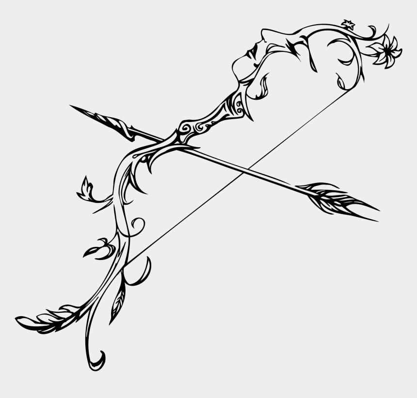 bow and arrow clip art, Cartoons - Ornate Female Head Bow And Arrow - Drawing Bow And Arrow
