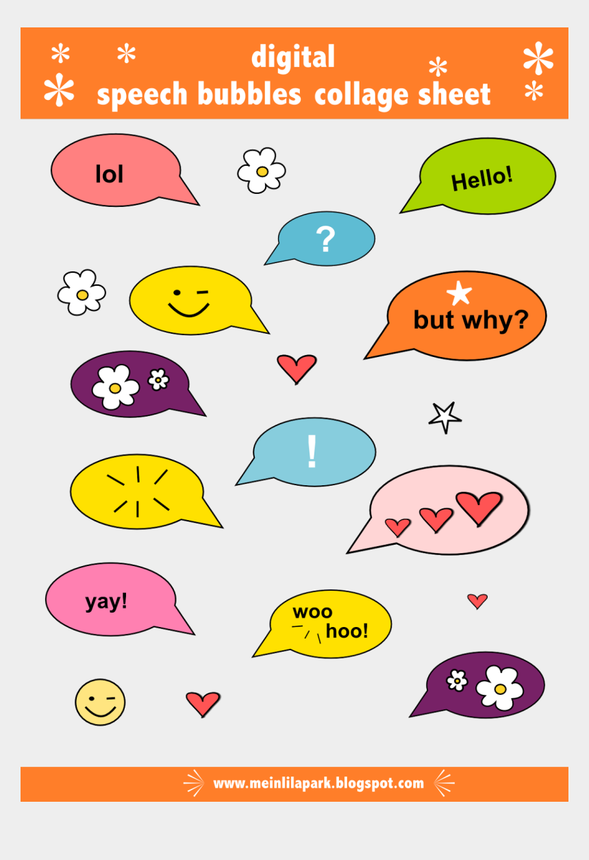 image about Printable Speech Bubbles known as Free of charge Electronic Speech Bubbles Collage Sheet Png - Printable