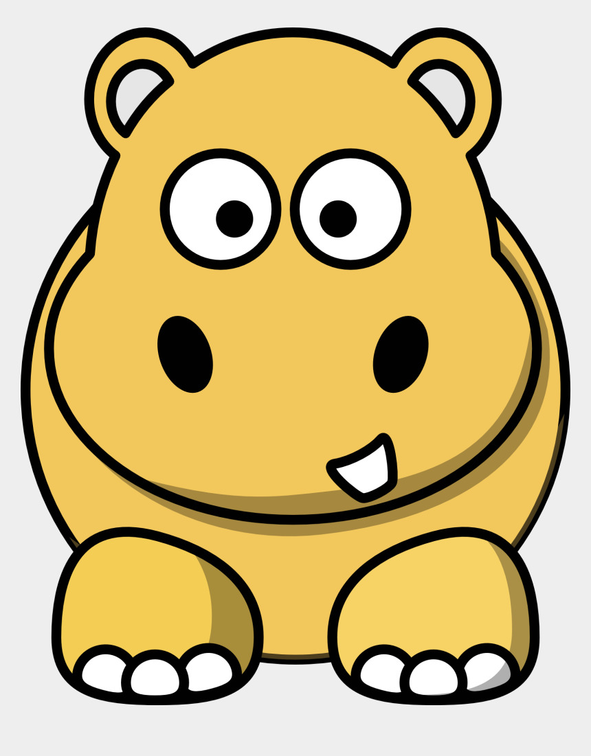 hippo clipart, Cartoons - Clipart,picture Of Cute Gold Cartoon Hippo - Cute Animal Clip Art Black And White