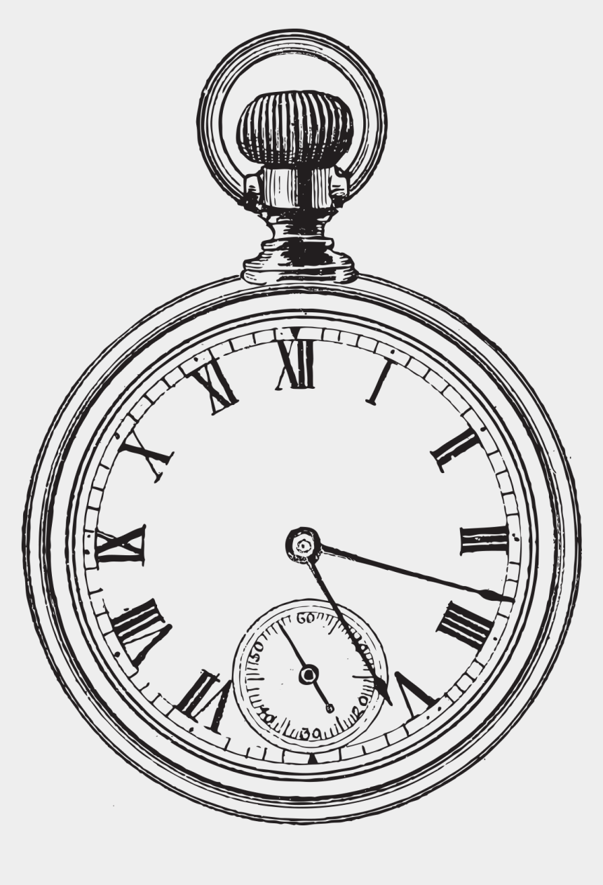 watch clipart, Cartoons - Pocket Clock Clip Art Hand Painted Alarm Ⓒ - Simple Pocket Watch Drawing