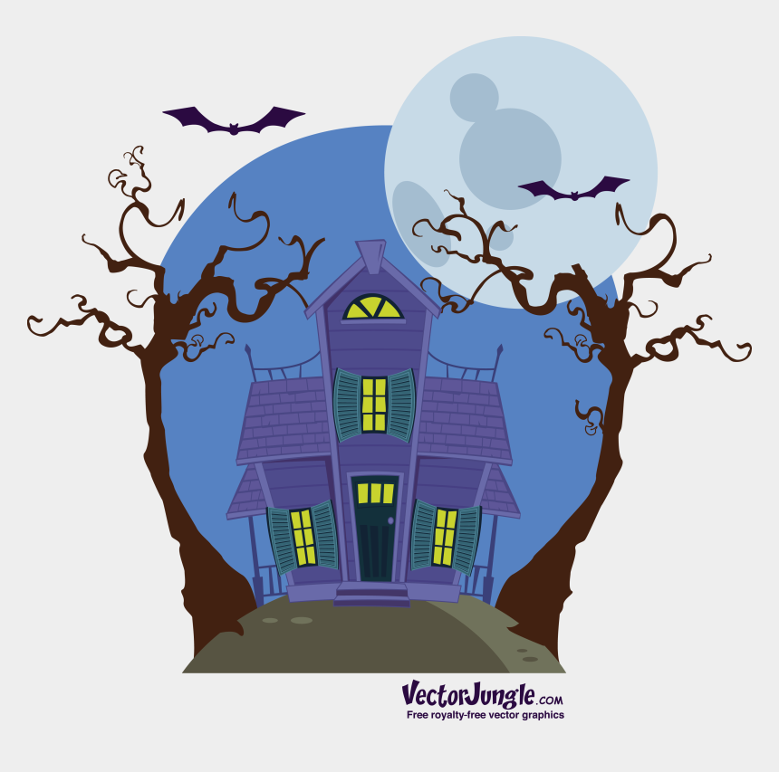 haunted house clipart, Cartoons - Haunted Clipart Moon - Halloween Silhouettes