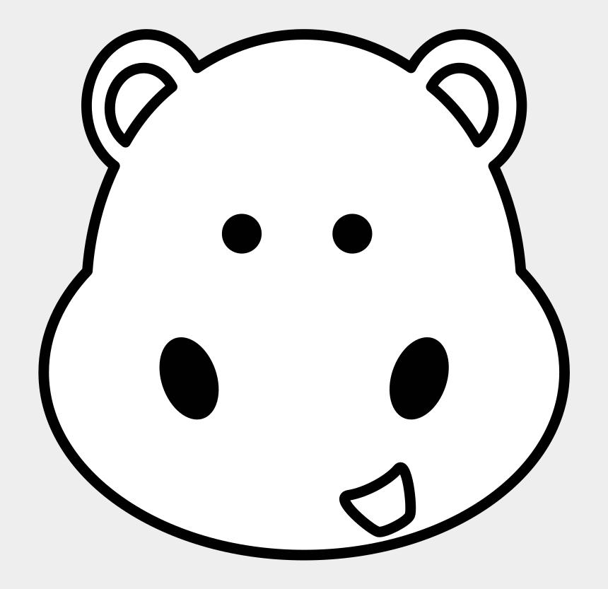 hippo clipart, Cartoons - Hippo Head Svg Clip Arts 600 X 600 Px - Cute Animal Clip Art Black And White