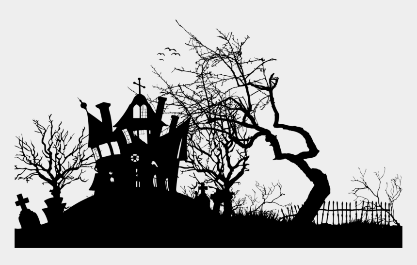 haunted house clipart, Cartoons - Haunted House Moonlight Silhouette Isolated - Free Halloween