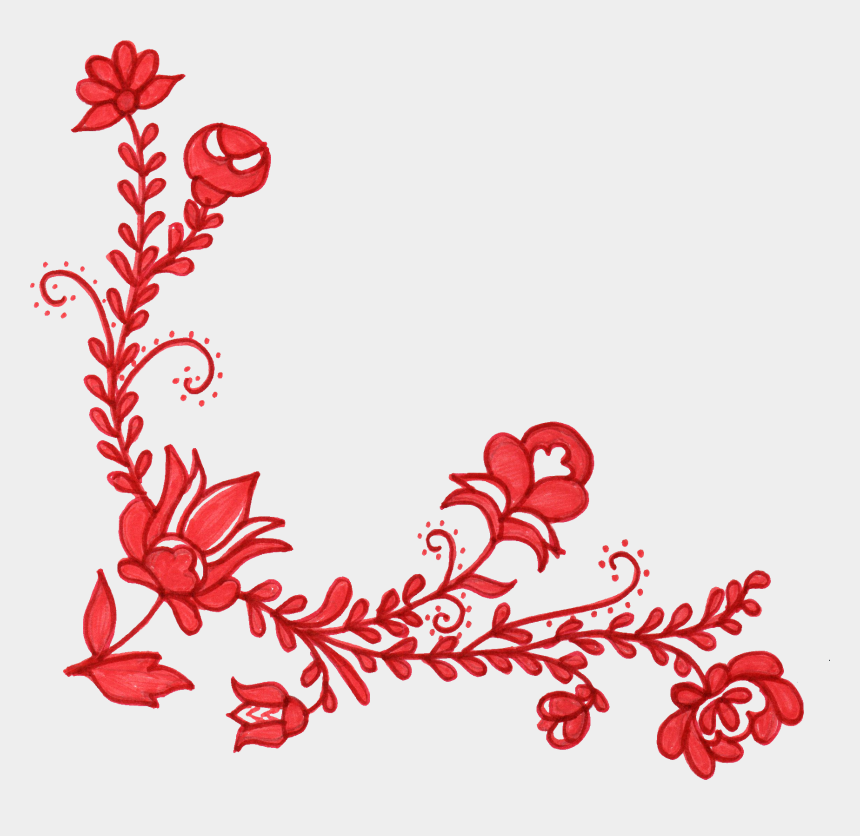 ornament clipart, Cartoons - Ornament Clipart Floral - Red Flower Corner Designs