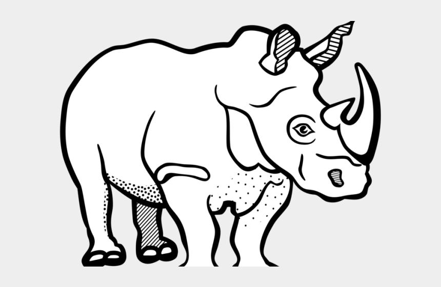 rhino clipart, Cartoons - Drawn Rhino Clipart Black - Rhinoceros Clipart Black And White