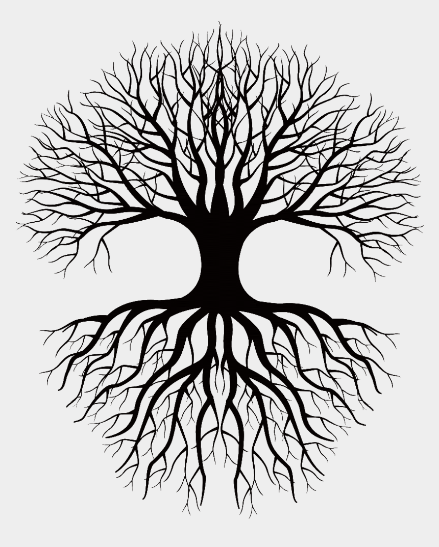 tree root clip art, Cartoons - Tree And Roots Silhouette Png