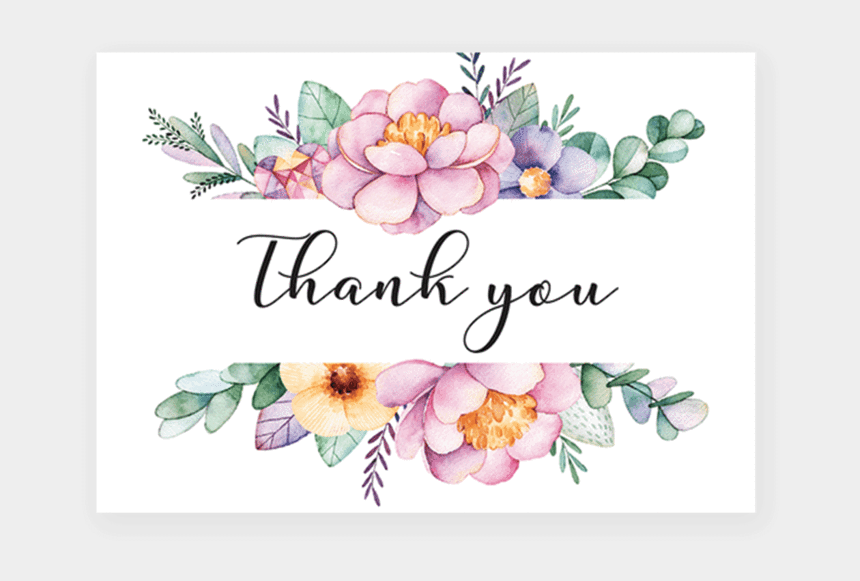 elegant thank you clip art, Cartoons - Transparent Watercolor Floral Border