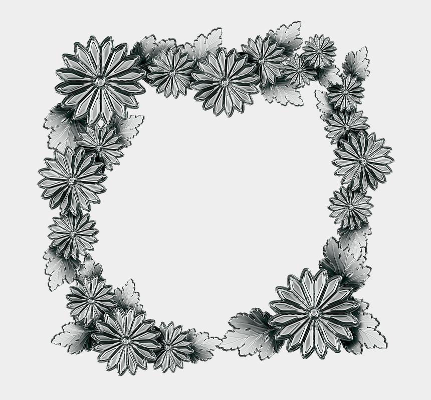 chrysanthemum clip art black white, Cartoons - Silver, The Frame, Chrysanthemum Flowers, Leaf - Pigura Bunga Hd Png