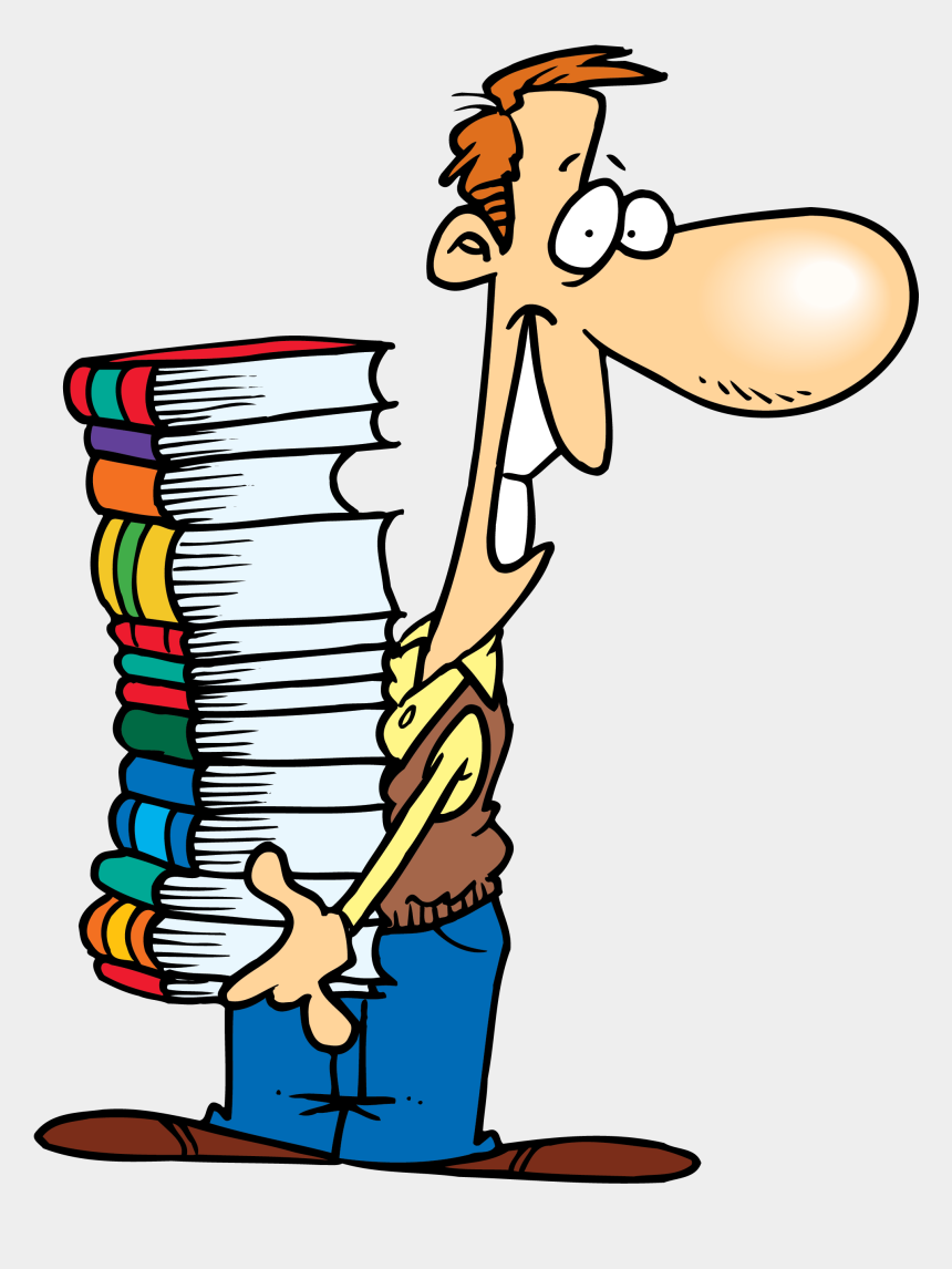 books clipart, Cartoons - - Man Carrying Books Clipart - Person With Books Clipart