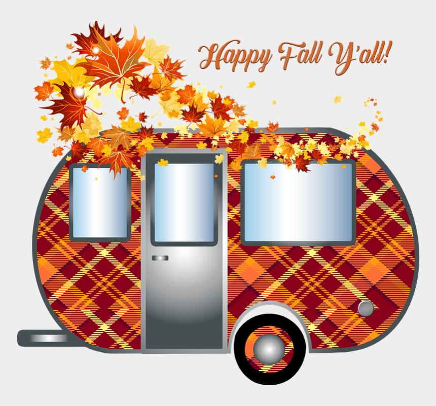 camper clip art, Cartoons - Autumn Camper, Trailer, Travel, Fall, Fall Leaves - Transparent Fall Leaves Border