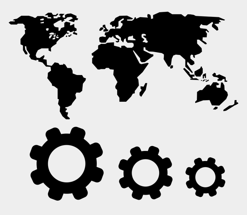 world map clip art, Cartoons - World Map And Gears Symbols - World Map In One Color