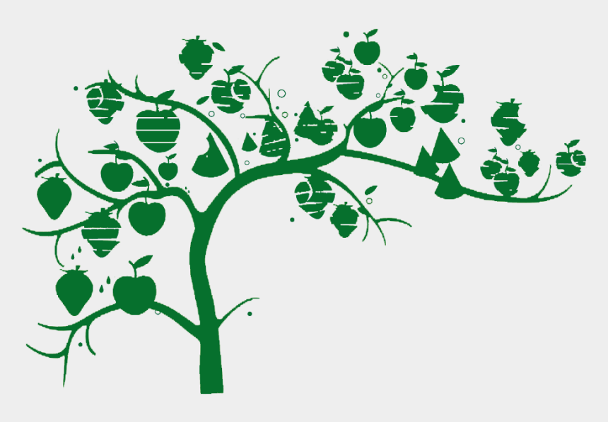 apple tree clip art, Cartoons - Apple Tree Laden With Green Silhouette Png Download