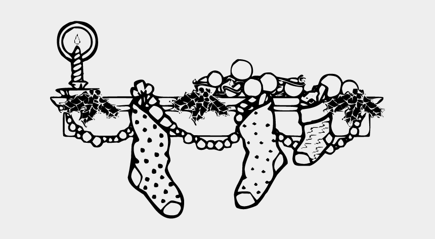 christmas stocking clip art, Cartoons - Black And White Stocking Christmas