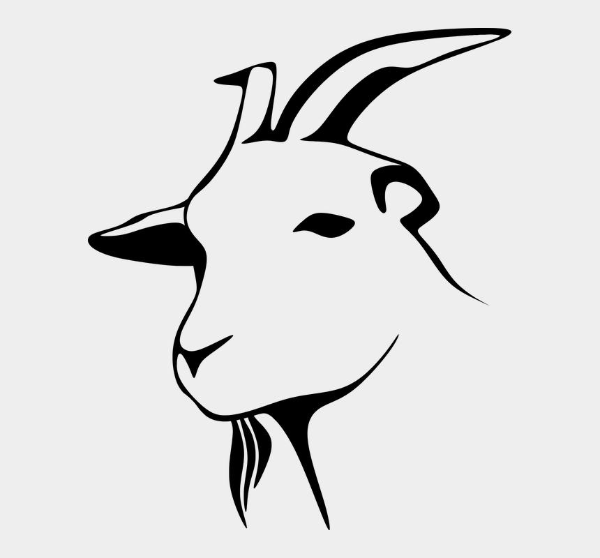 head clip art, Cartoons - Goat Head Clip Art , Png Download - Goat Head Clipart Black And White