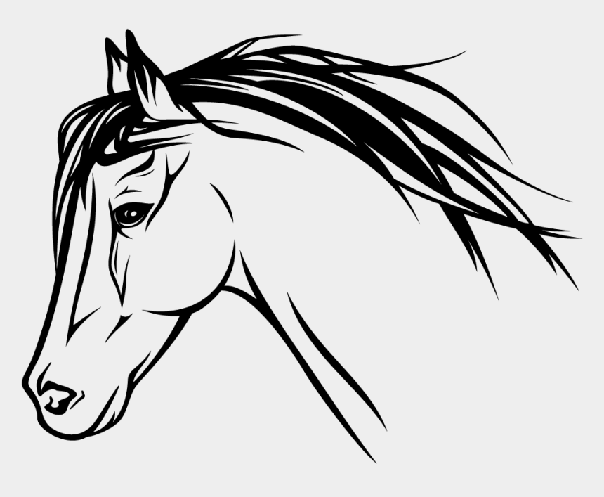 horse heads clip art, Cartoons - Horse Head Profile Drawing