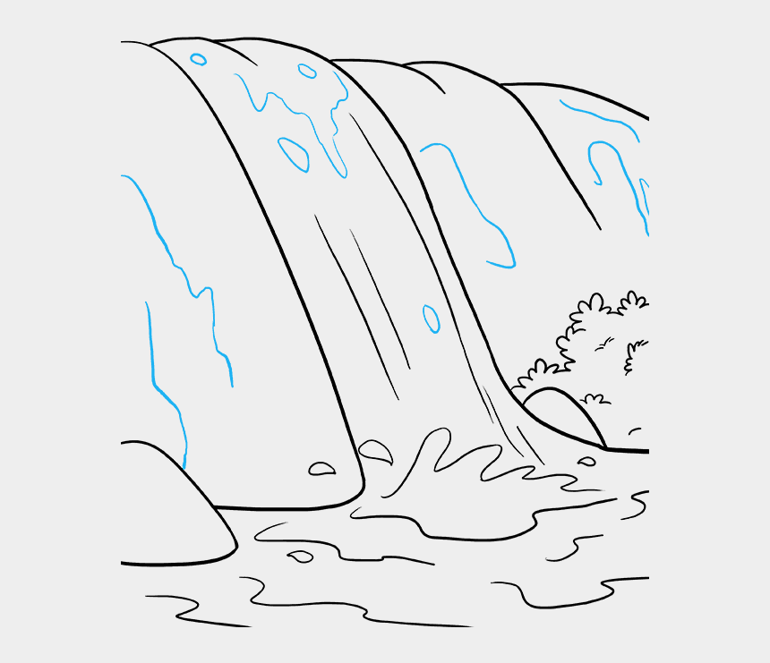 waterfalls clip art, Cartoons - How To Draw Waterfall - Waterfall Cartoon Drawing