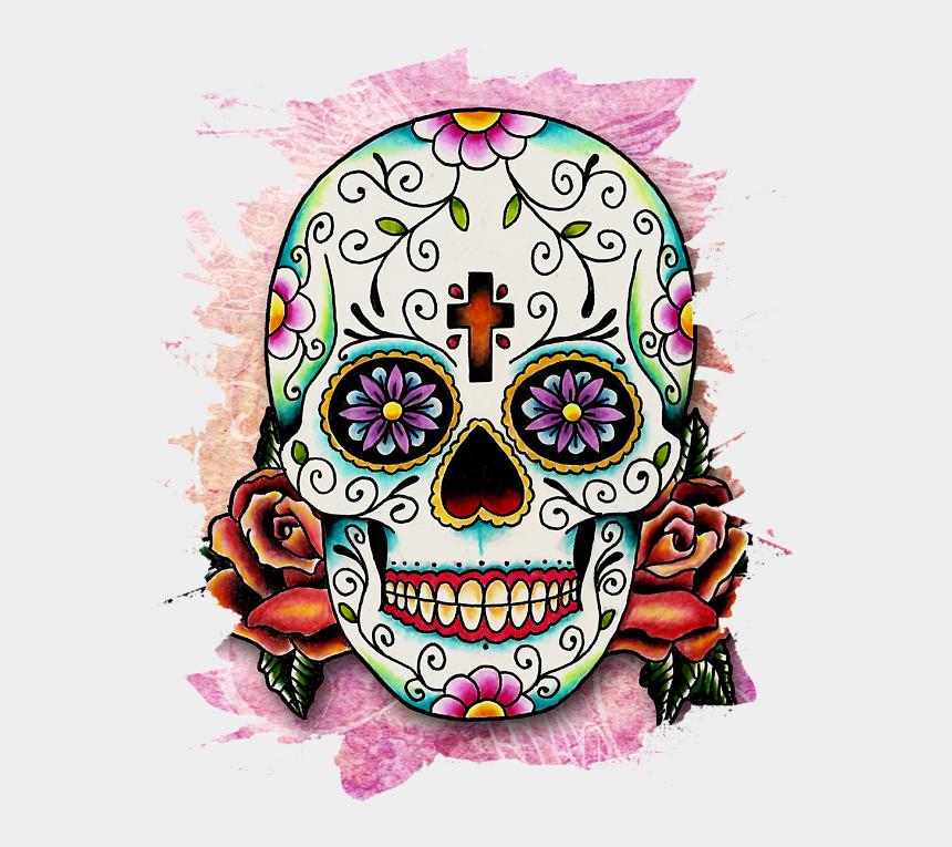day of the dead clip art, Cartoons - Sugar Skull Mixed Media