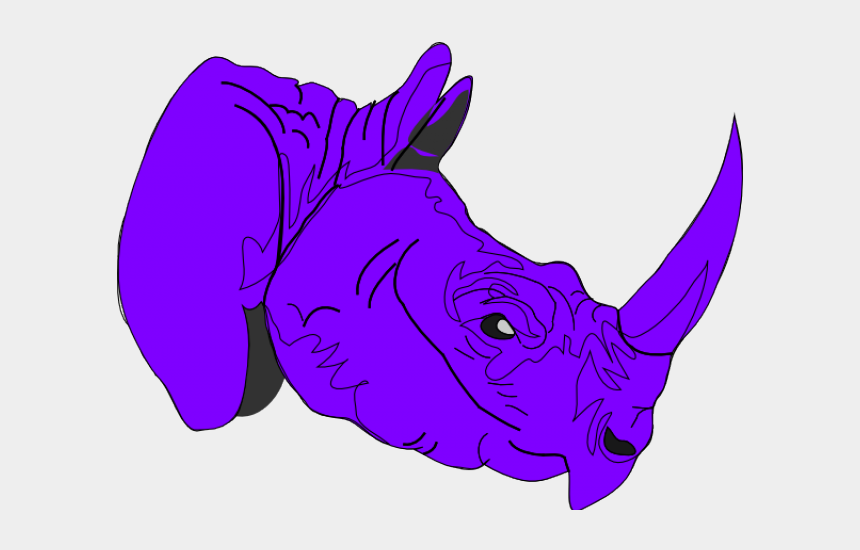 rhino clipart, Cartoons - Purple Rhino Clipart