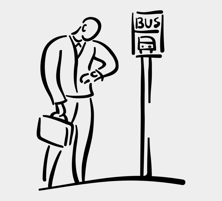 stop clipart, Cartoons - Vector Illustration Of Commuter Passenger Checks Time - Waiting At The Bus Stop