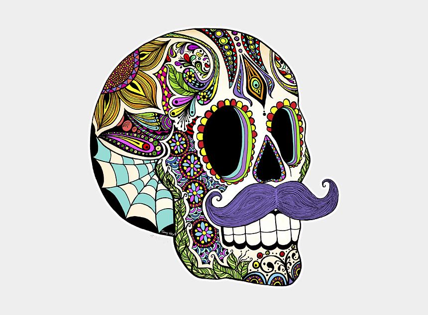 sugar skull clip art, Cartoons - Sugar Skull With Mustache