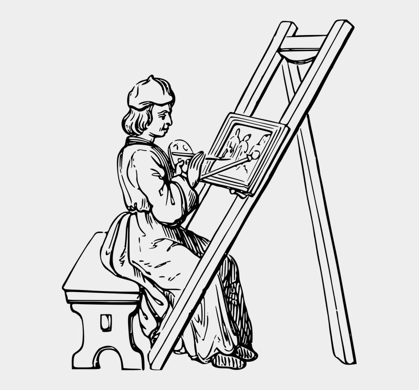painter clip art, Cartoons - Art, Artist, Paint, Painter, Painting, People - Drawing Of An Artist Painting