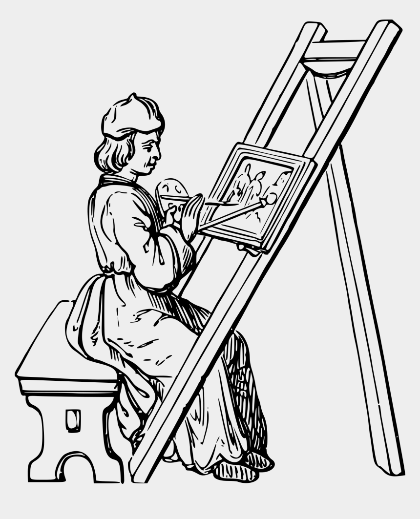 medieval clip art, Cartoons - Drawing Of An Artist Painting