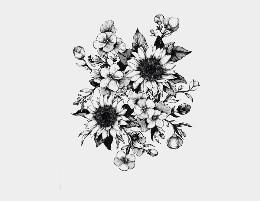 sun flower clip art, Cartoons - Tattoo Sketch Flower Drawing Sunflower Png Free Photo - Sunflower Tattoo Black And White