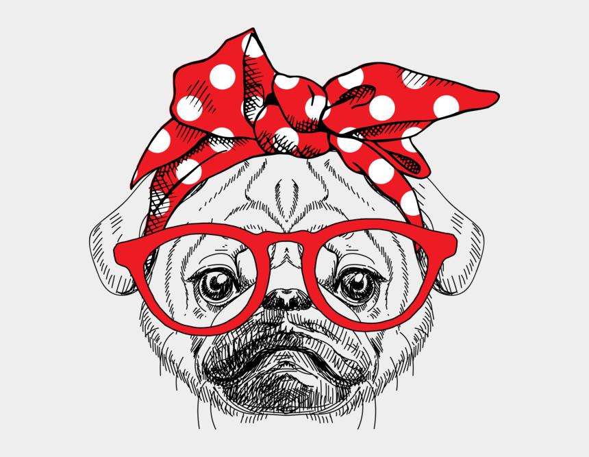 bandana clip art, Cartoons - Pug Bandana Tee - English Bulldog Face Clipart