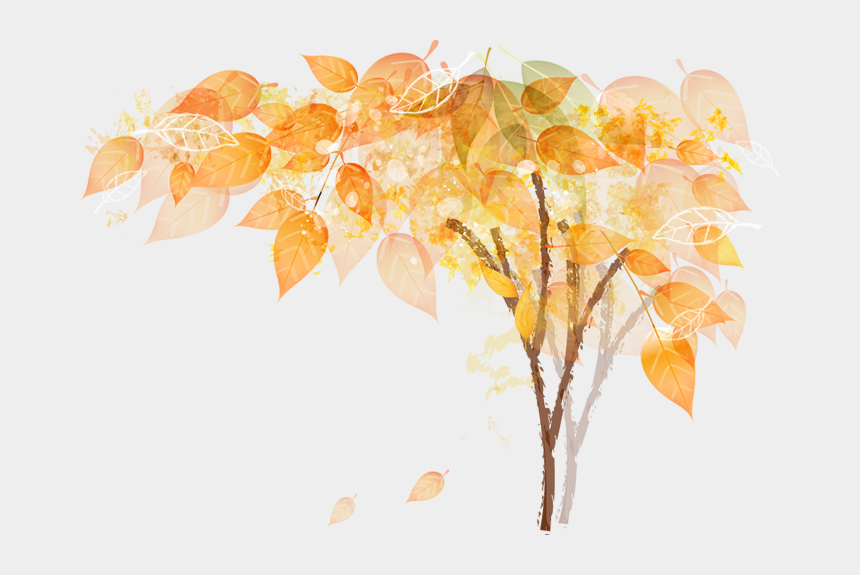 fall tree branch clip art, Cartoons - Aesthetic Fall Leaves Png