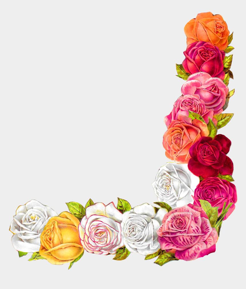 border design clipart, Cartoons - Rose Shabby Chic Flower Border Corner Design Digital - Flowers For Border Design
