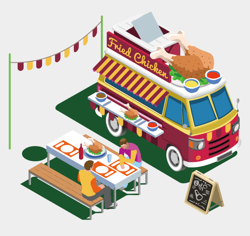 chicken food clip art, Cartoons - Street Food Car Van Take-out Fried Chicken - Food Trucks Isometric Drawing