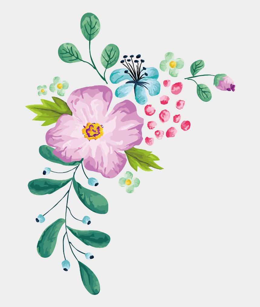 clip art borders flowers, Cartoons - Bloom Flower Border Flowers White Bouquet Multiple - Blue Spring Flower Vector