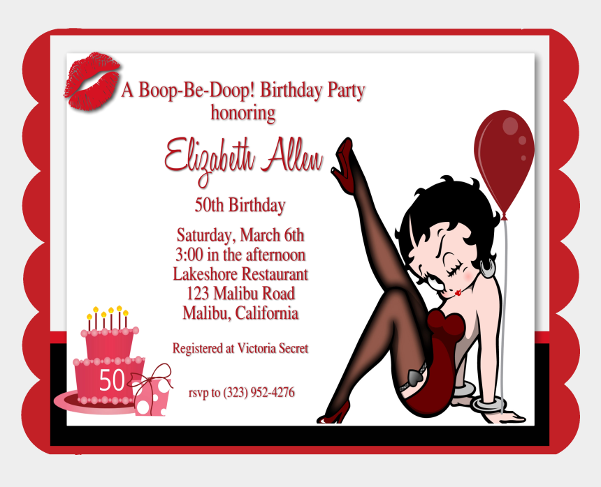 betty boop clip art, Cartoons - Betty Boop Birthday Template Invitations