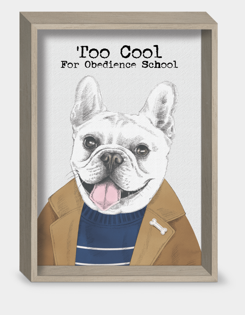 french bulldog clip art, Cartoons - Too Cool Dog Recessed Gallery Art - Picture Frame