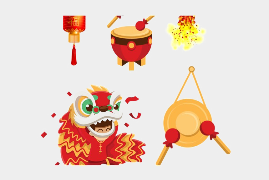 new years day clip art, Cartoons - Chinese New Year Decoration Png Clipart - Lion Dance Vector Png