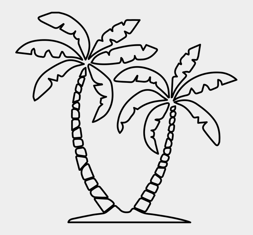 palms clip art, Cartoons - Palms, Palma, Island, Green, Nature, Landscape, Sun - Slanted Palm Tree Drawing