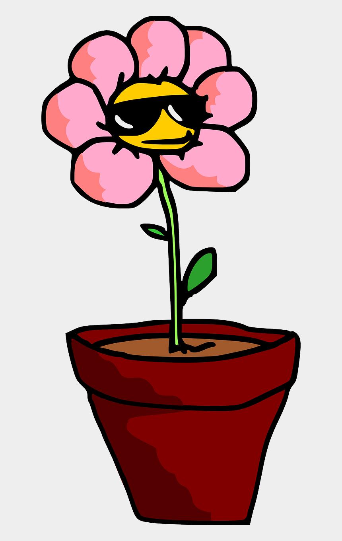flower pot clipart, Cartoons - Flower Plant Pot - Cartoon Plant With Sunglasses